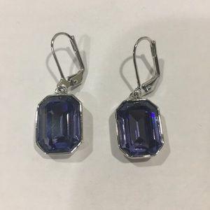 "Dark Purple ""Erin"" Earrings Touchstone Crystal"